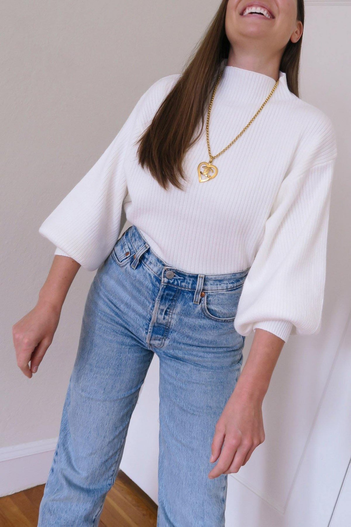 Ivory Funnel Neck Ribbed Sweater from Sweet and Spark.