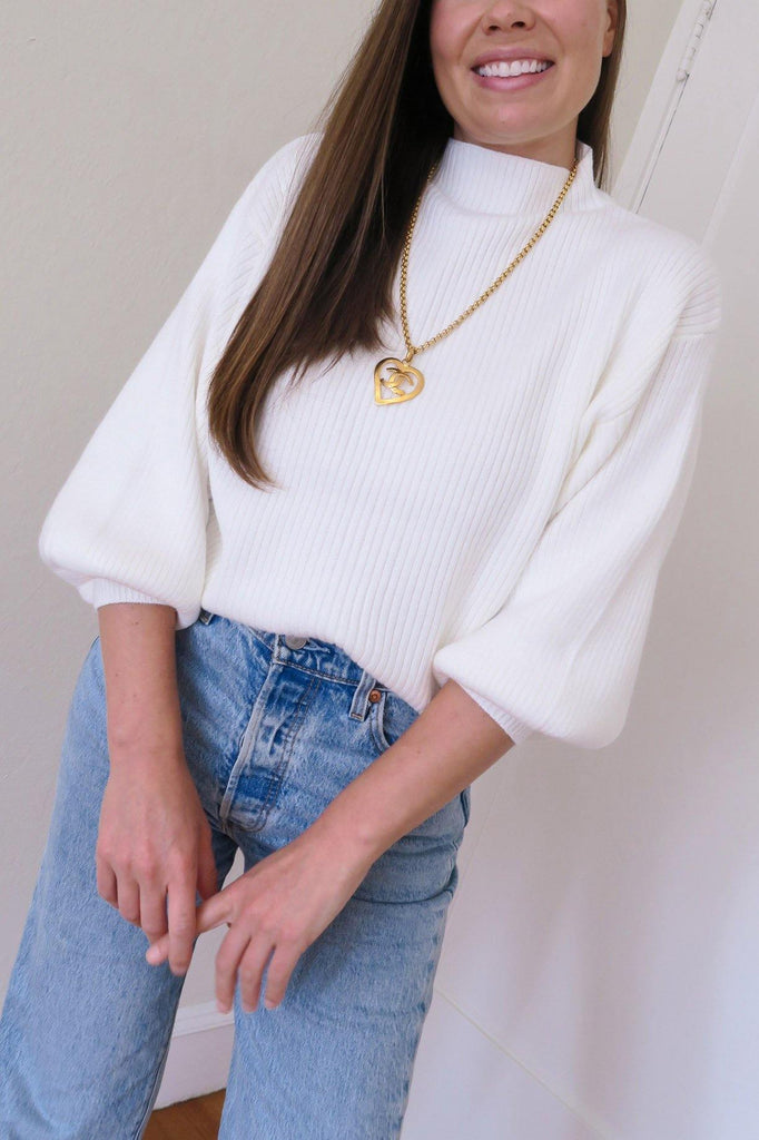White Funnel Neck Ribbed Sweater