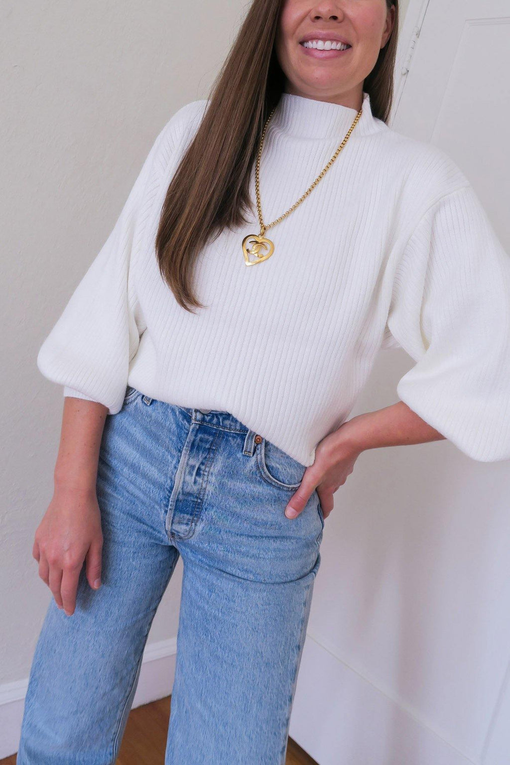 Ivory Funnel Neck Ribbed Sweater