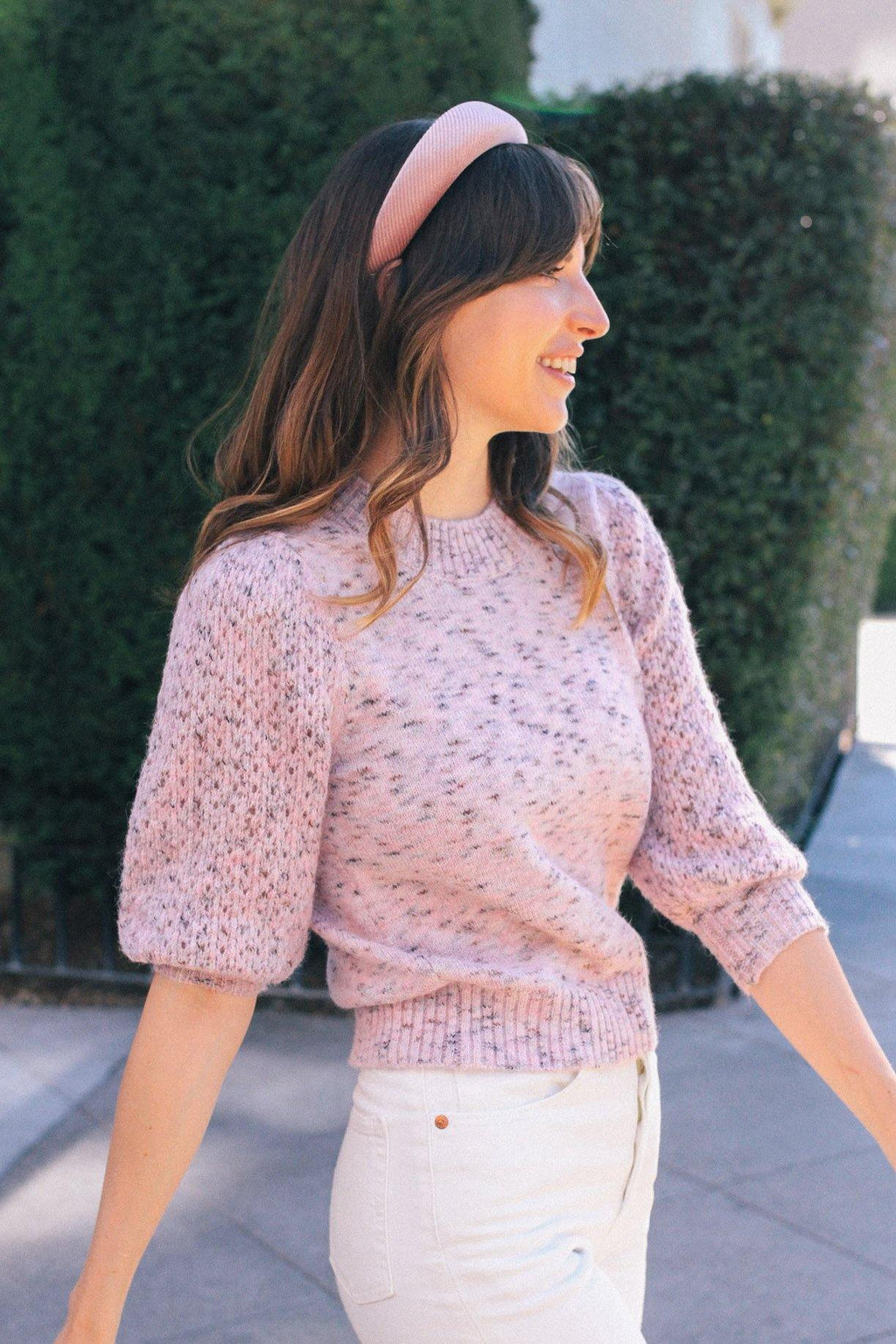 Pink Balloon Sleeve Sweater