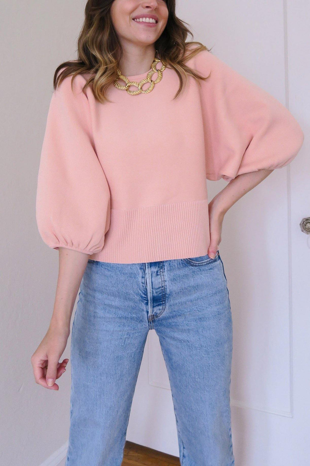 Blush Balloon Sleeve Sweater