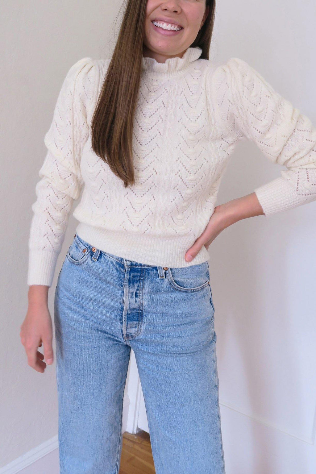 Ruffle Neck Popcorn Sweater