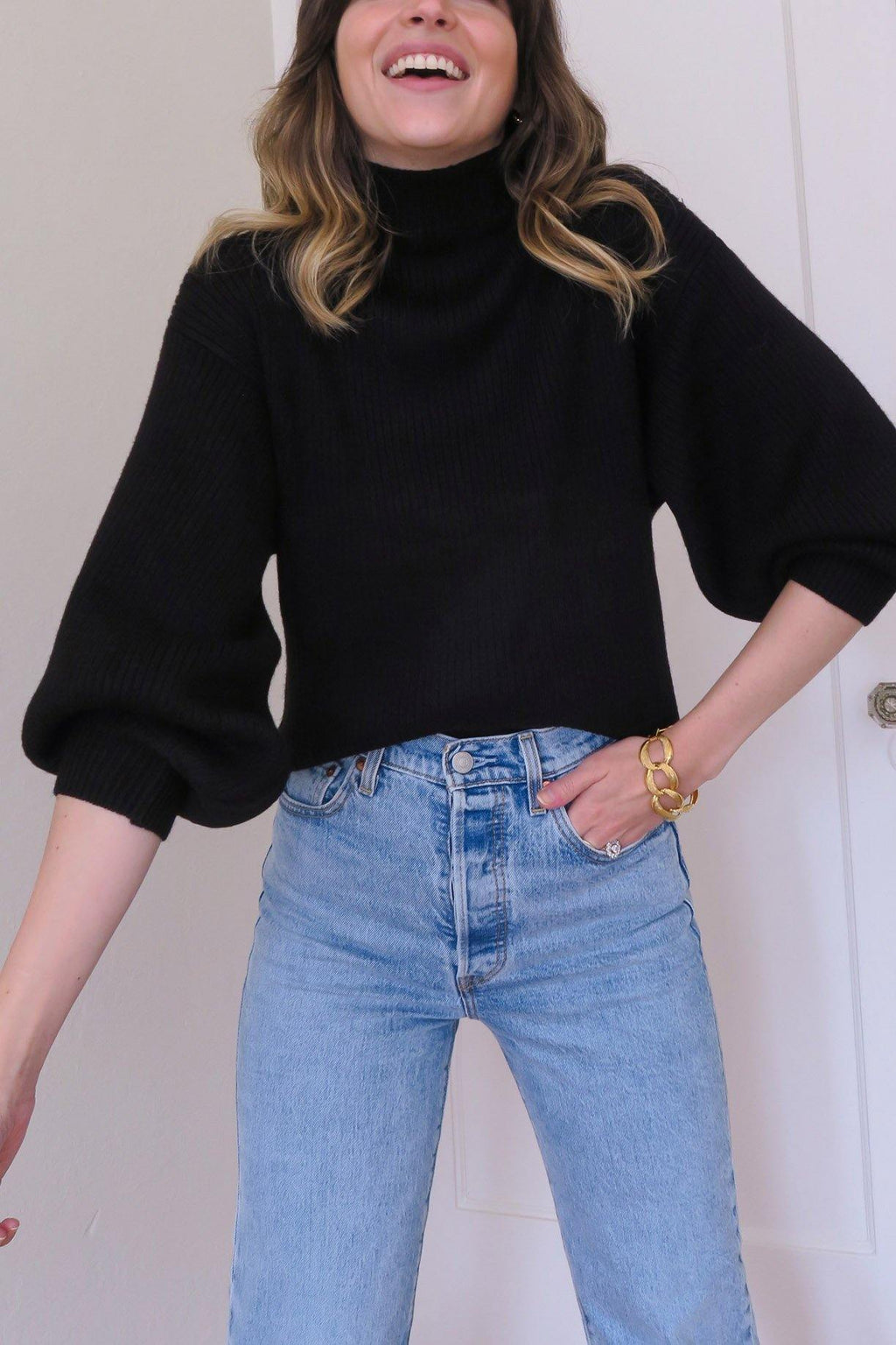 Black Funnel Neck Ribbed Sweater