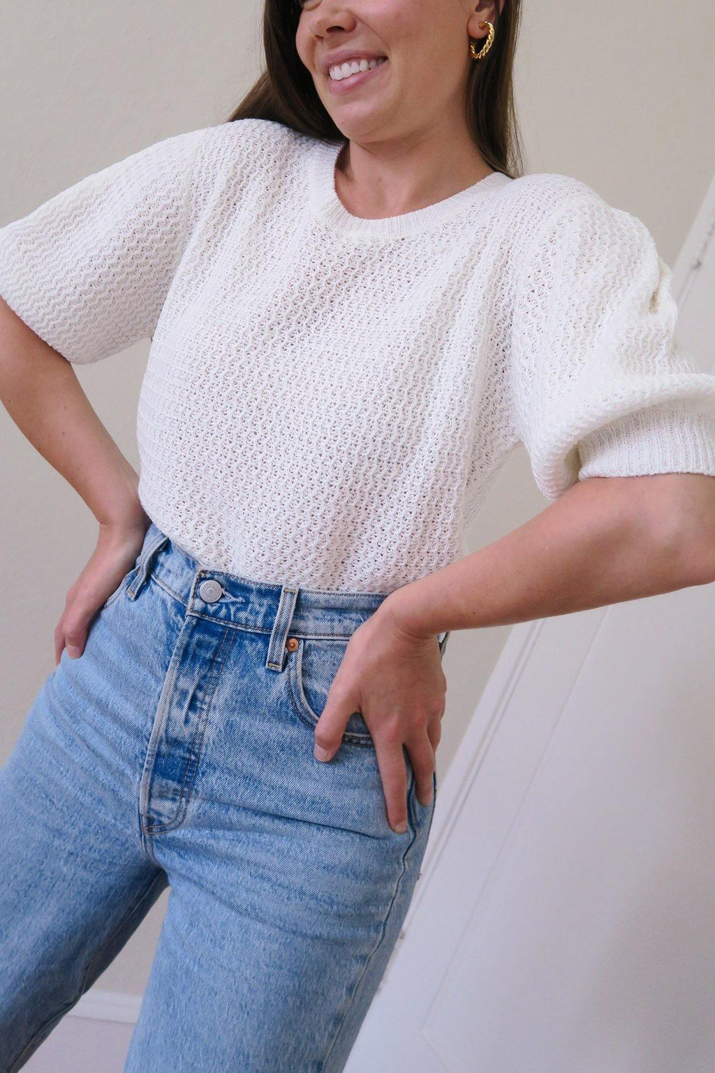 Knit Puff Sleeve Sweater
