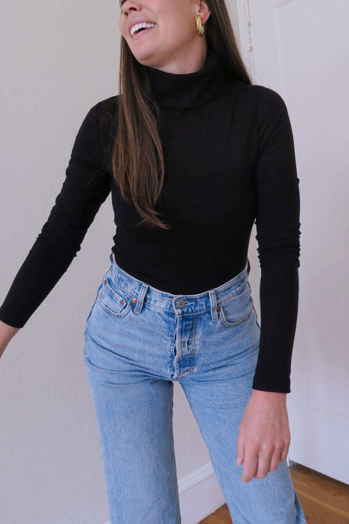 Ribbed Black Turtleneck from Sweet and Spark.