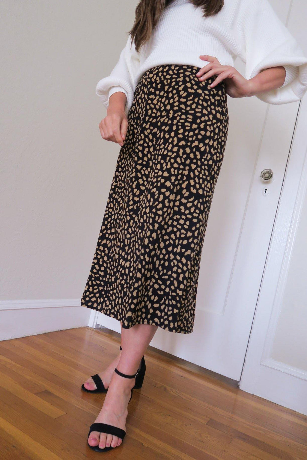 Black Spots Slip Skirt
