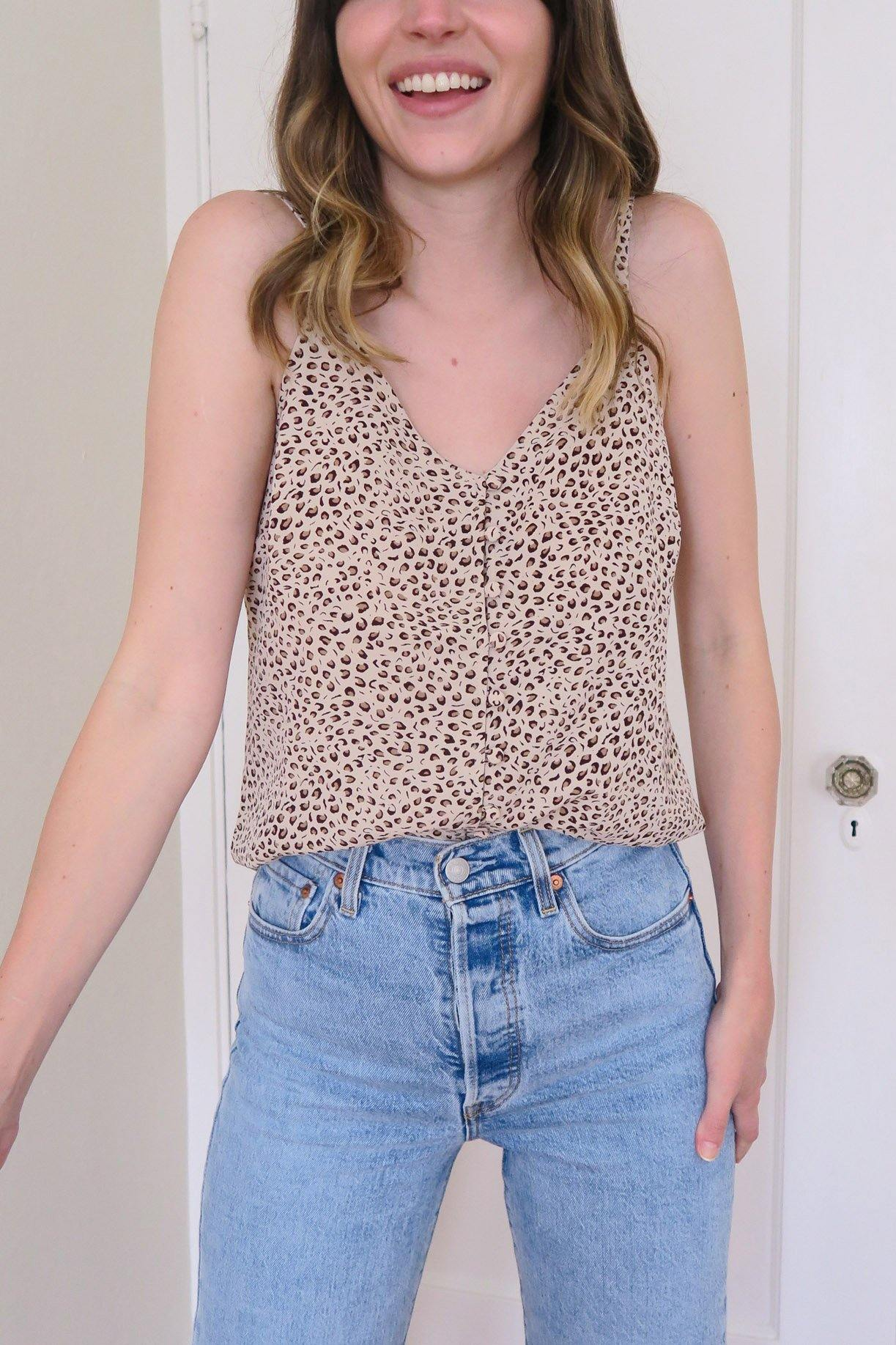 Cheetah Print Button Down Tank  from Sweet and Spark,