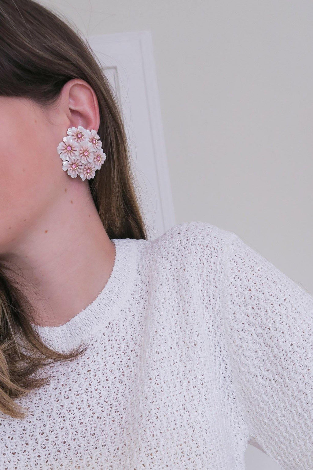 Pink Floral Clip on Earrings
