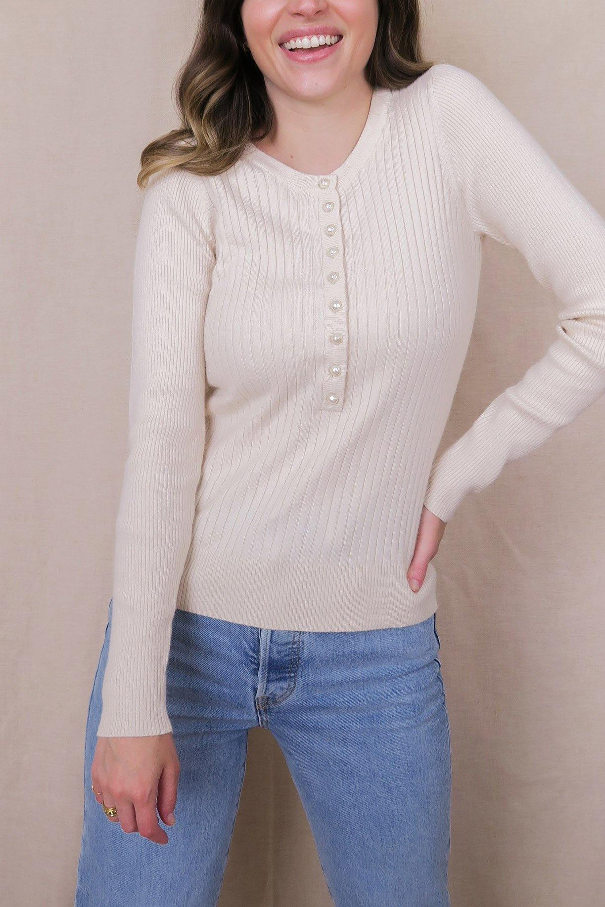 Pearl Button Down Sweater - Sweet & Spark