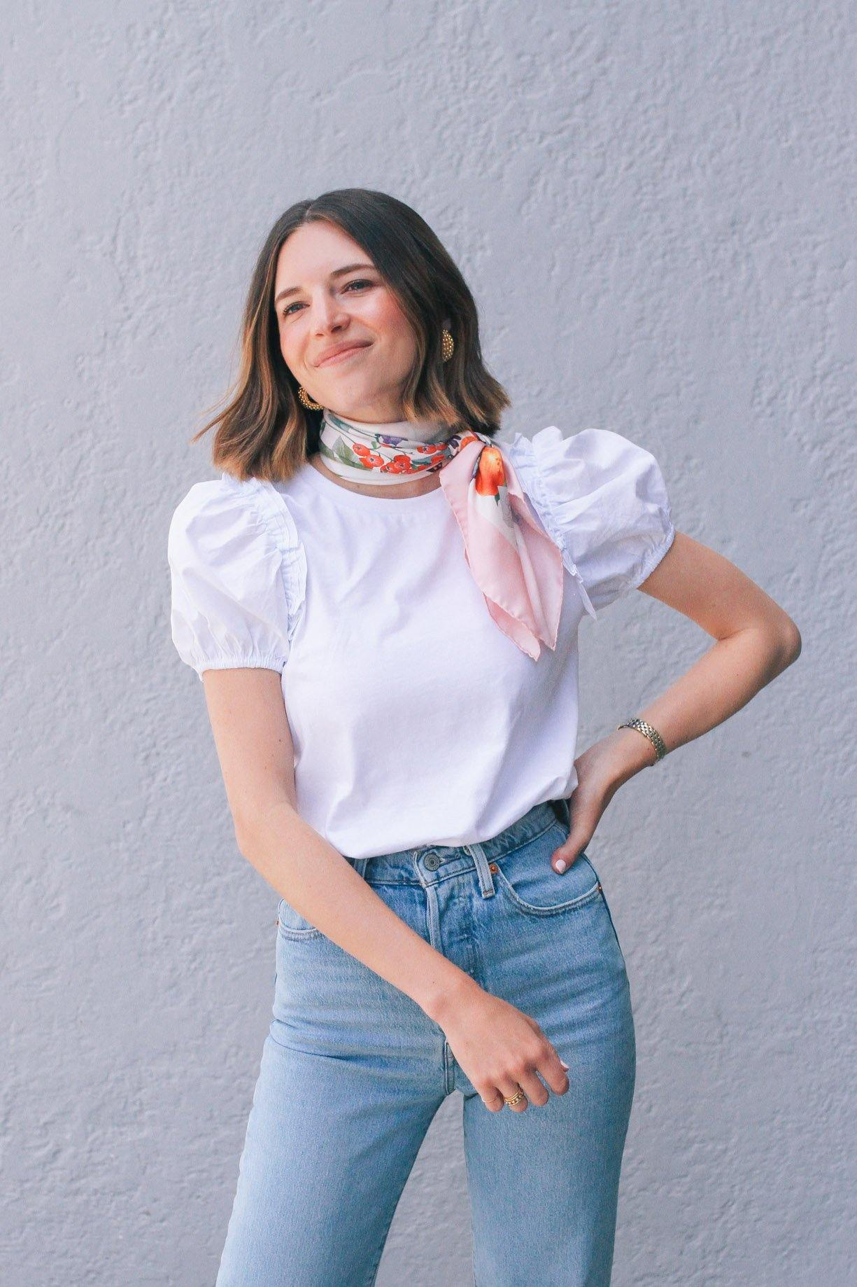 English Factory White Puff Sleeve Top
