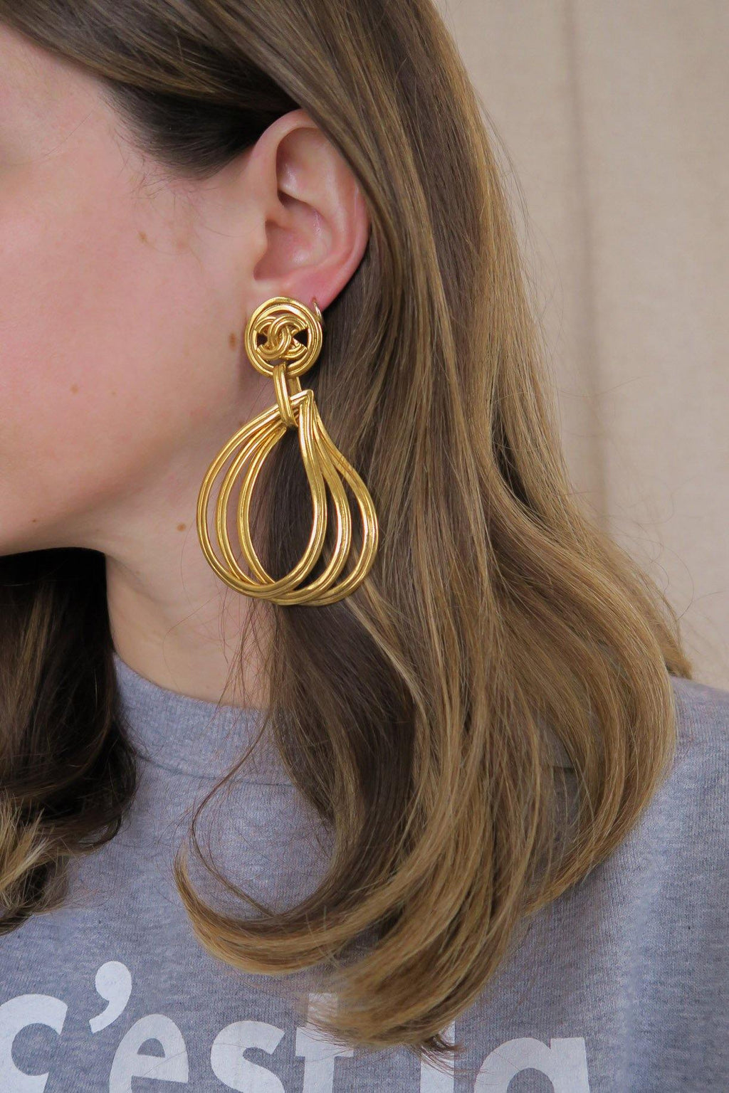 Chanel CC Teardrop Hoop Earrings