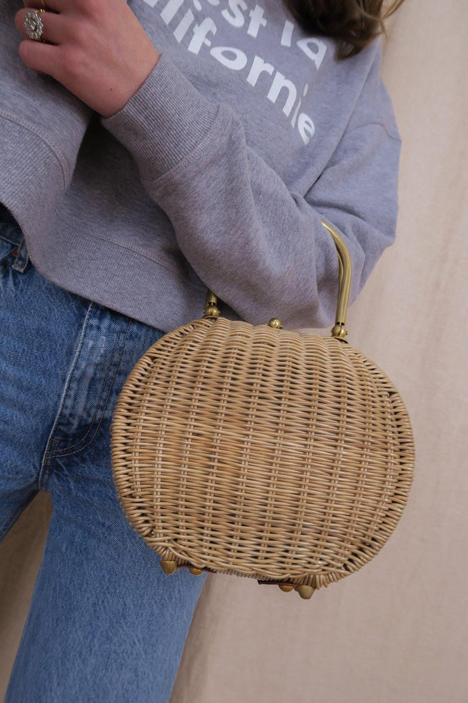 Woven Gold Top Handle Basket Bag