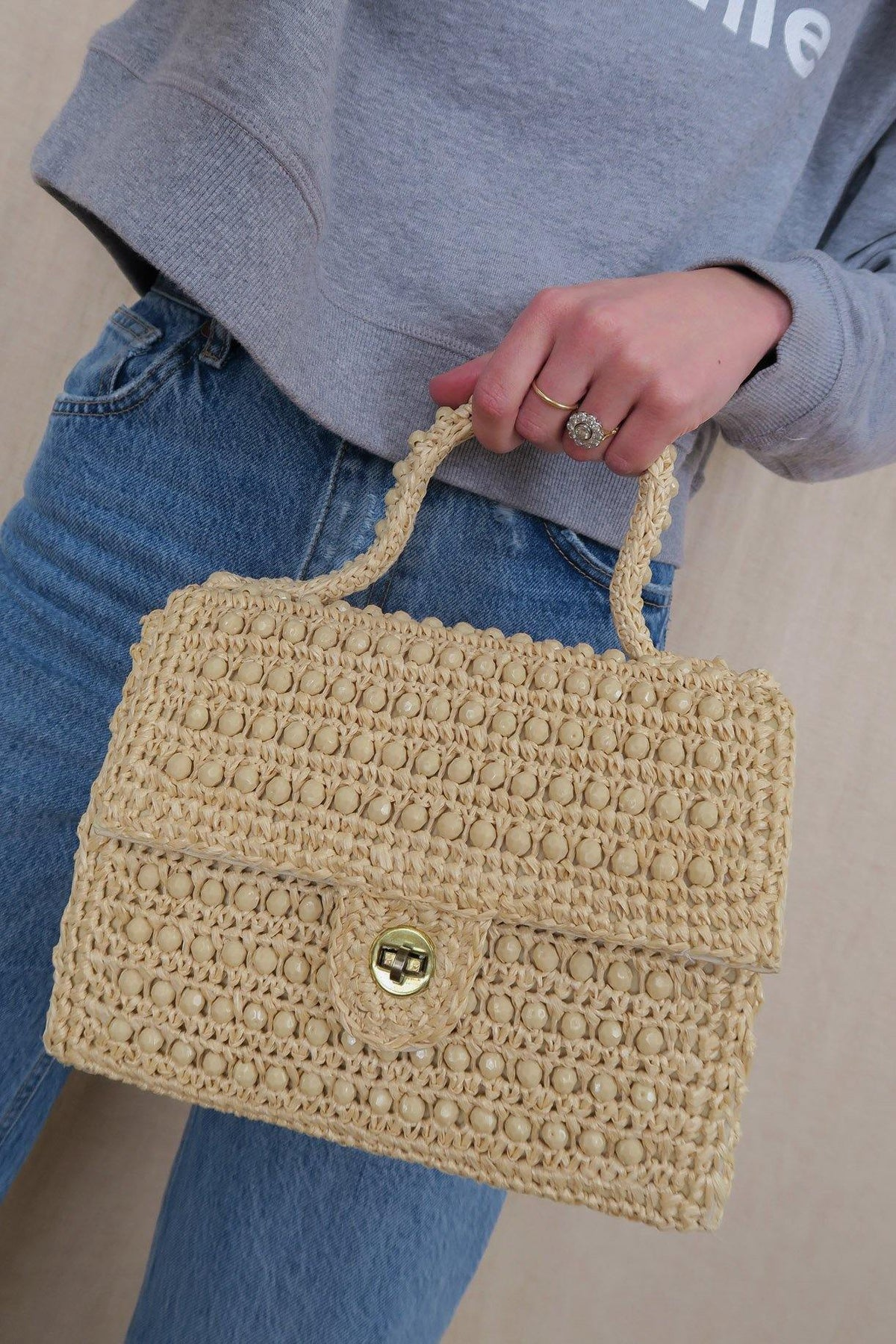 Beaded Raffia Top Handle Bag - Sweet & Spark