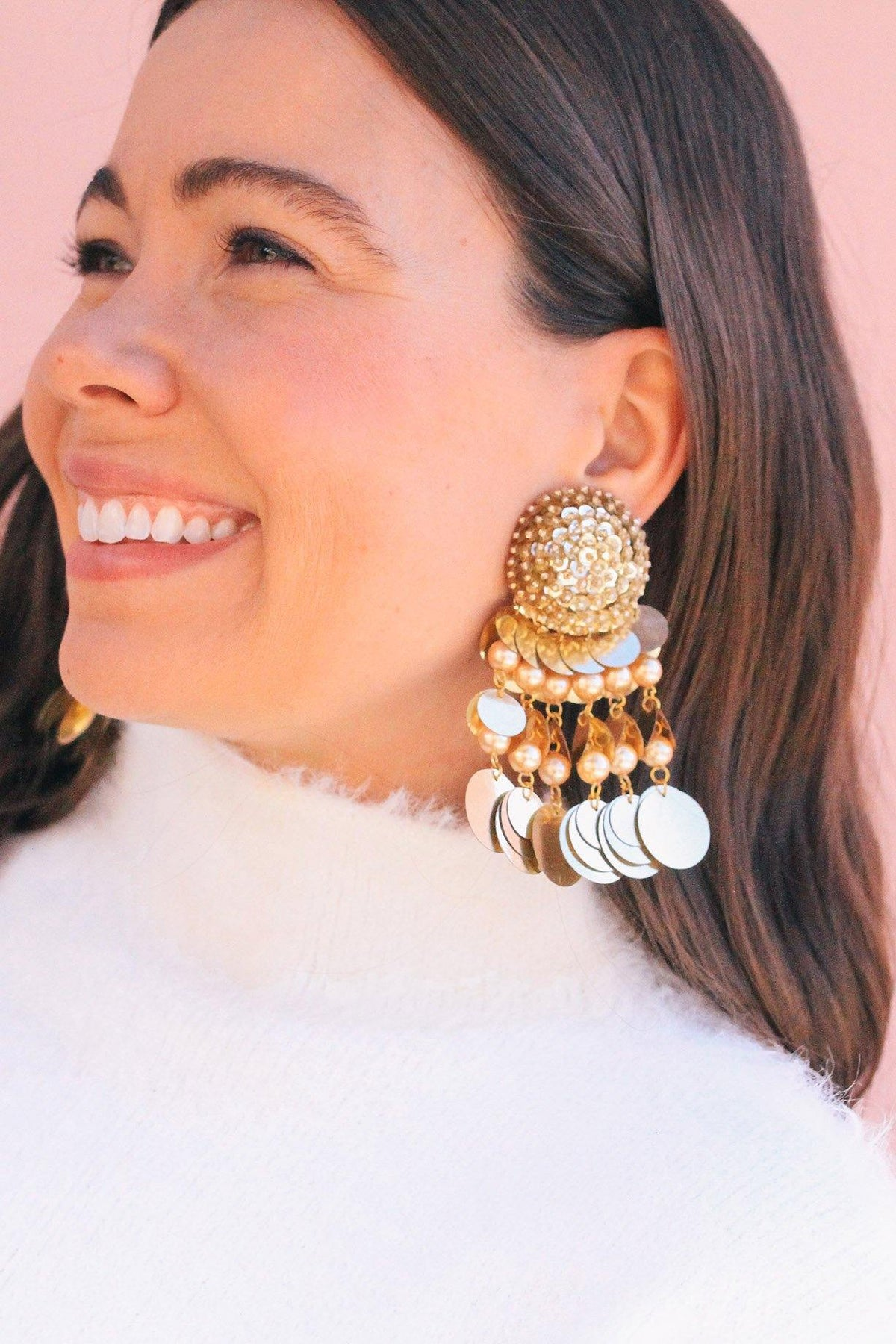 Gold Jumbo Sequin Bon Bon Clip-on Earrings by Sweet & Spark.