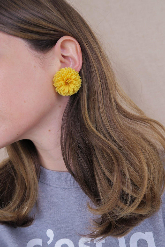 Yellow Burst Floral Clip-on Earrings
