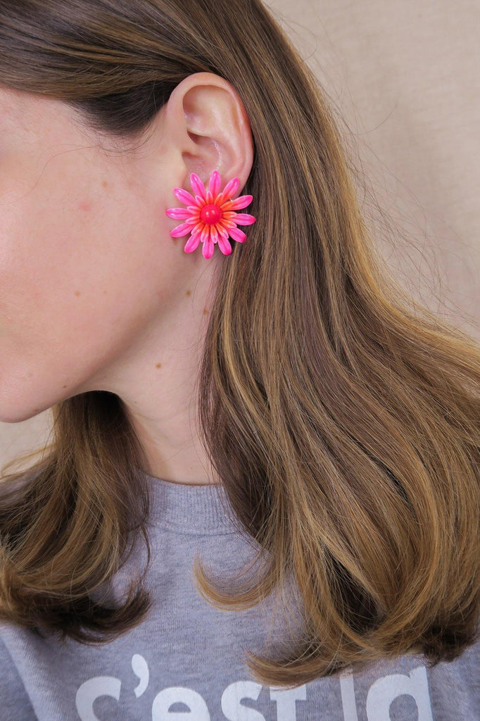 Pink Enamel Floral Clip-on Earrings