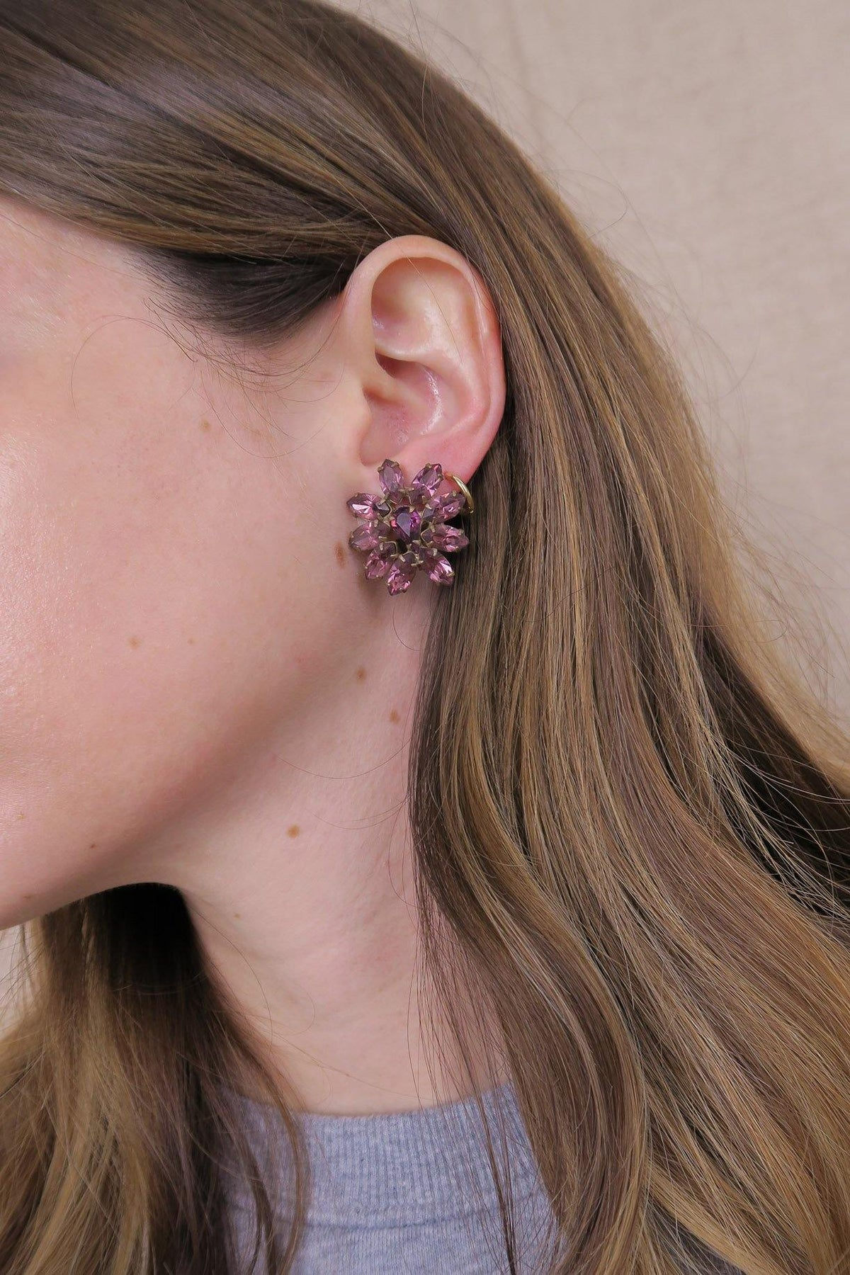 Purple Rhinestone Clip-on Earrings - Sweet & Spark