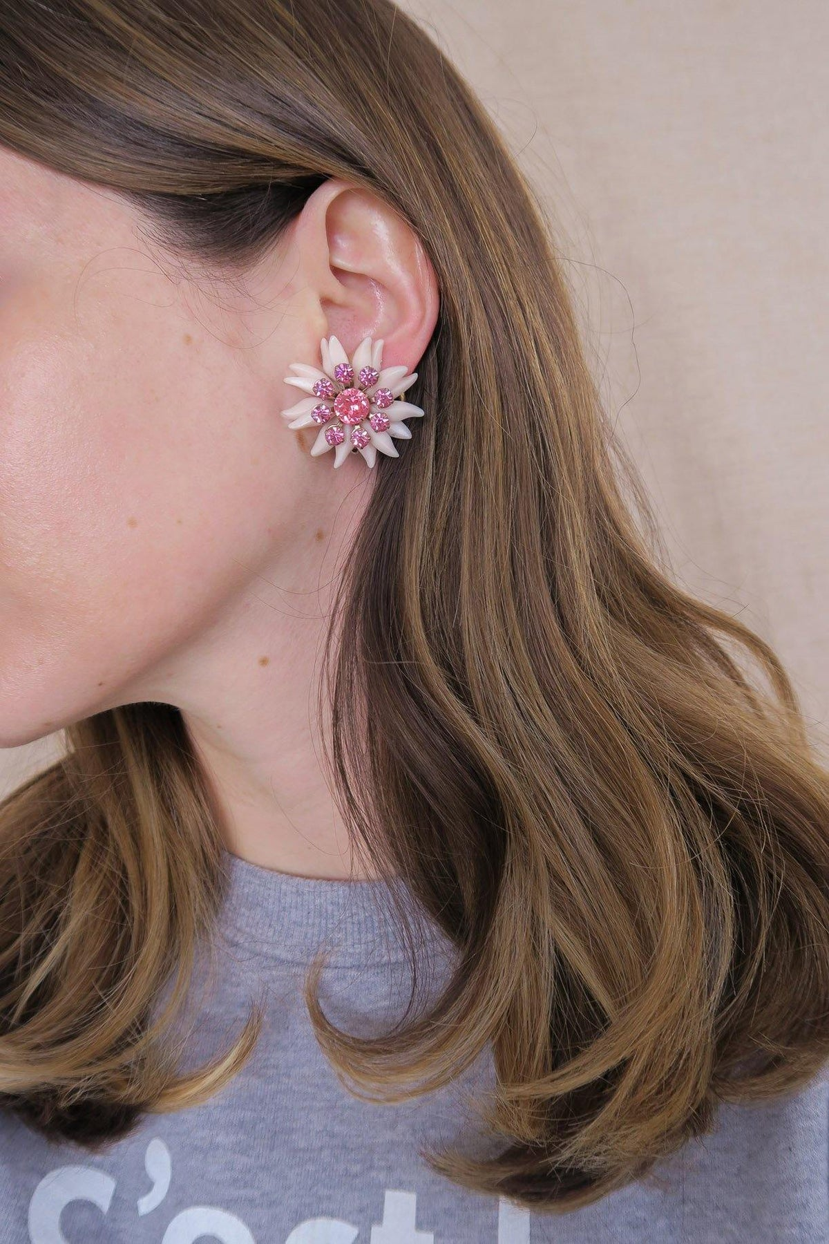 Pink Floral Clip-on Earrings - Sweet & Spark