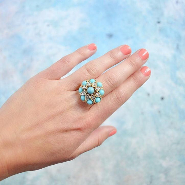 60's Turquoise Cocktail Ring- sz 6 1/2