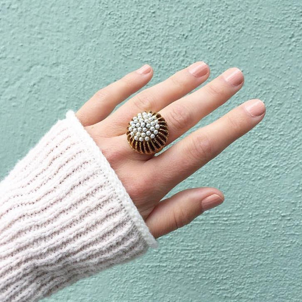 60's Pearl Dome Cocktail Ring