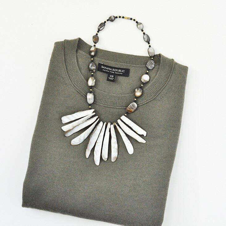 80's Shell Fringe Statement Necklace