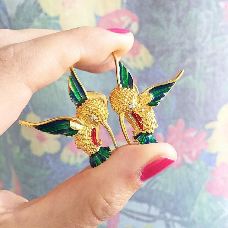 60's Hummingbird Clip-on Earrings