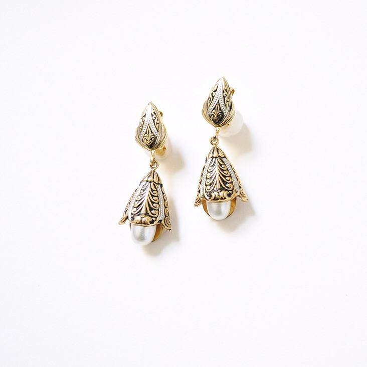 50's Damascene Pearl Drop Clip-on Earrings