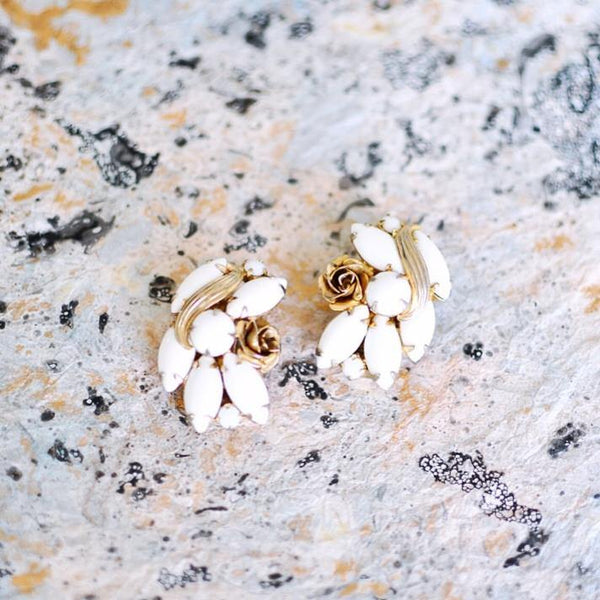 50's Weiss Rose Crawler Clip-on Earrings