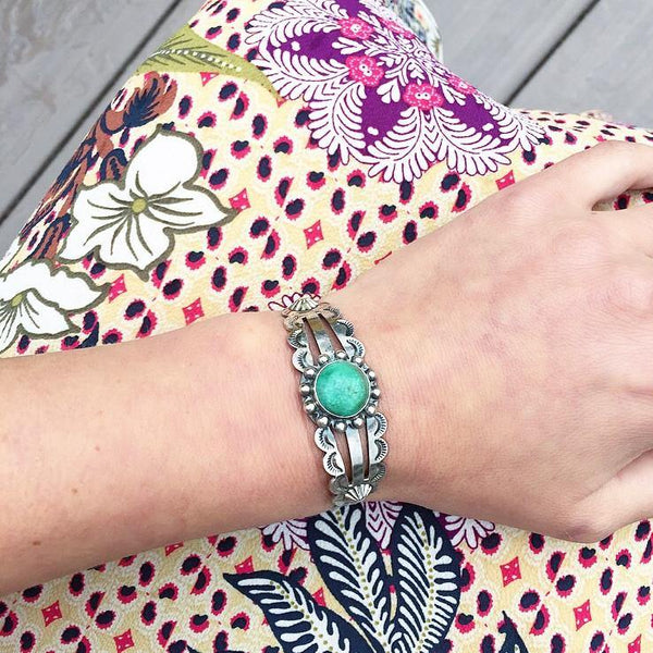 70's Green Turquoise Boho Cuff