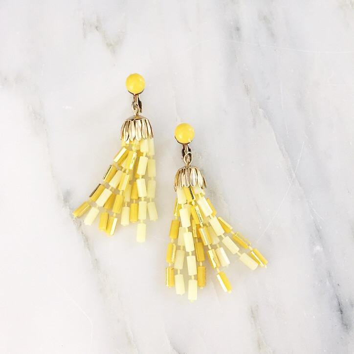 60's Yellow Tassel Clip-on Earrings