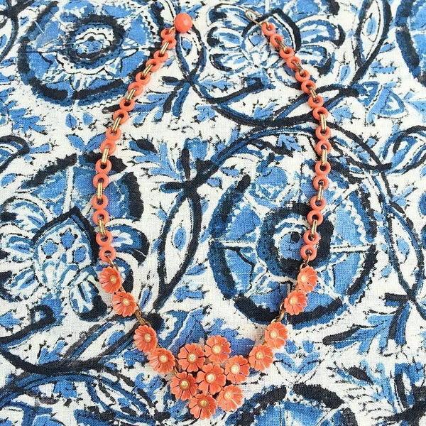 50's Orange Floral Necklace