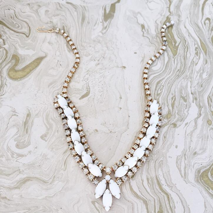 60's Chunky Milk Glass Necklace