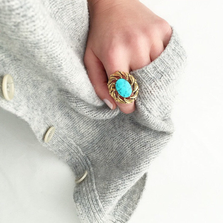 60's Turquoise Feather Statement Ring