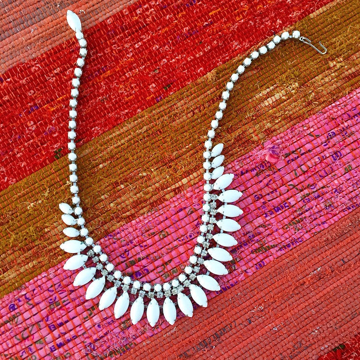 60's Milk Glass Fringe Necklace