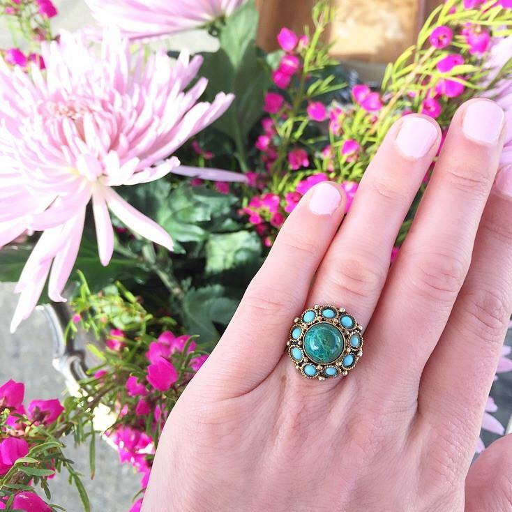 50's Sterling Malachite & Turq Adjustable Ring