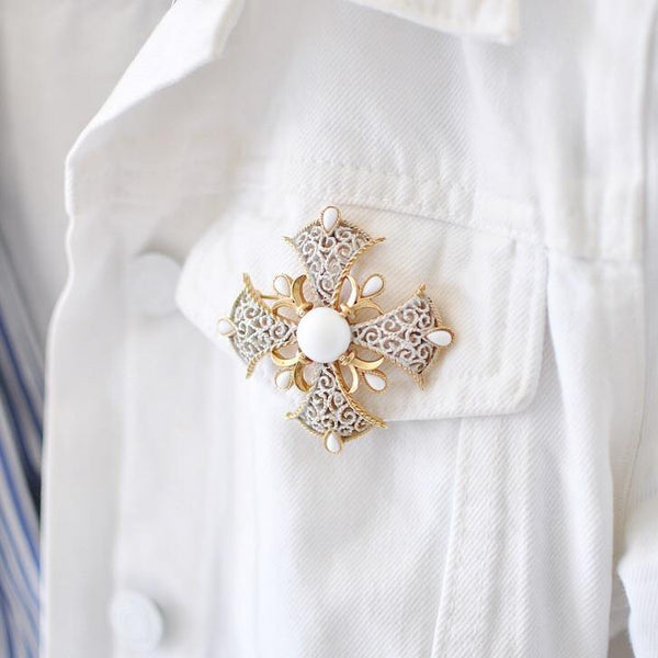 50's Trifari White Emblem Brooch
