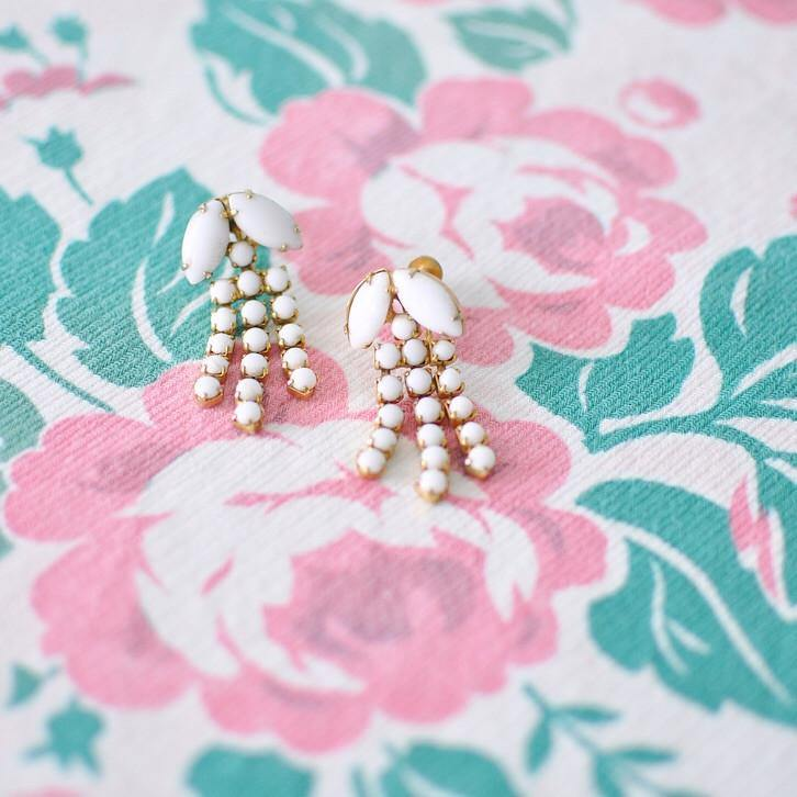 60's Milk Glass Fringe Clip-on Earrings