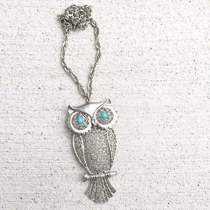 70's Statement Owl Necklace