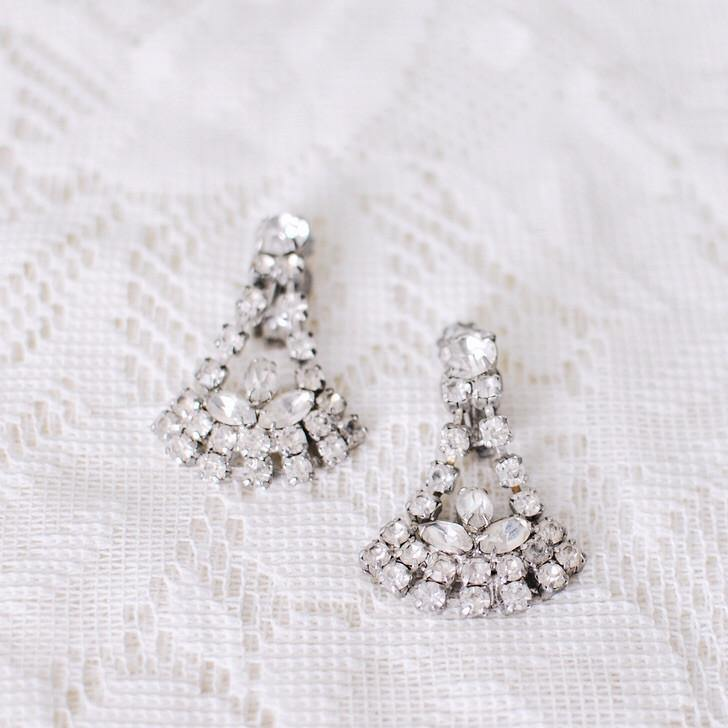 50's Rhinestone Fanned Drop Clip-on Earrings
