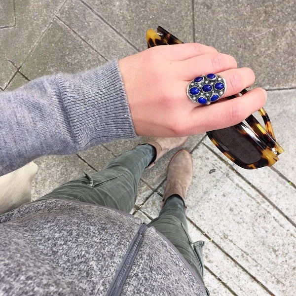 60's Sterling Lapis Statement Ring