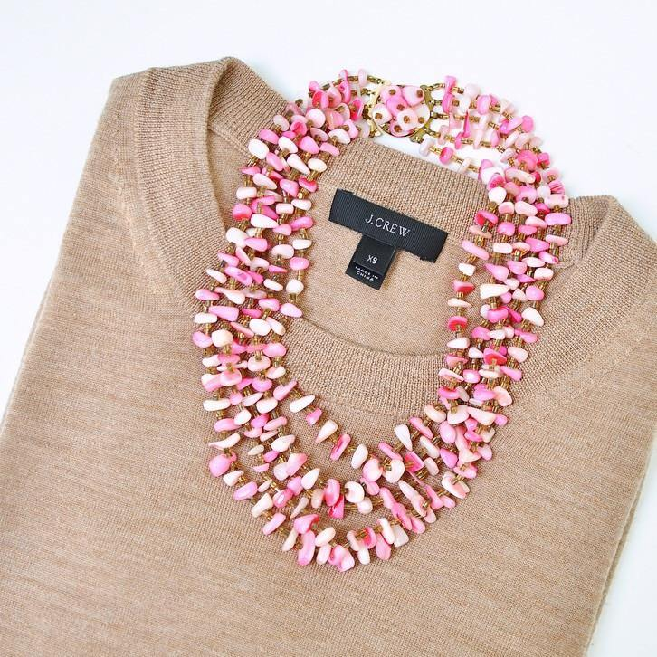 50's Pink Multi Chain Statement Necklace