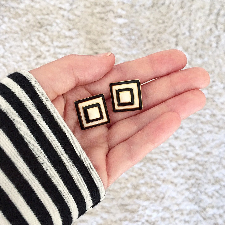80's Black and White Clip-on Earrings