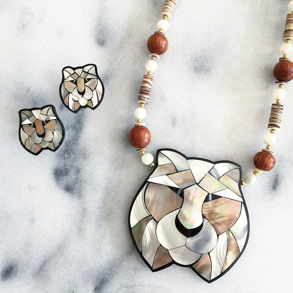 Abalone Tiger Necklace + Earrings