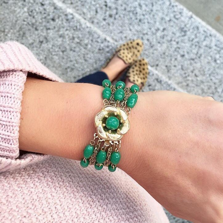 50's Green Statement Bracelet
