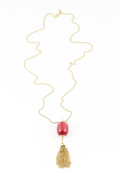 70's__Sarah Coventry__Dainty Red Ball Tassel Necklace