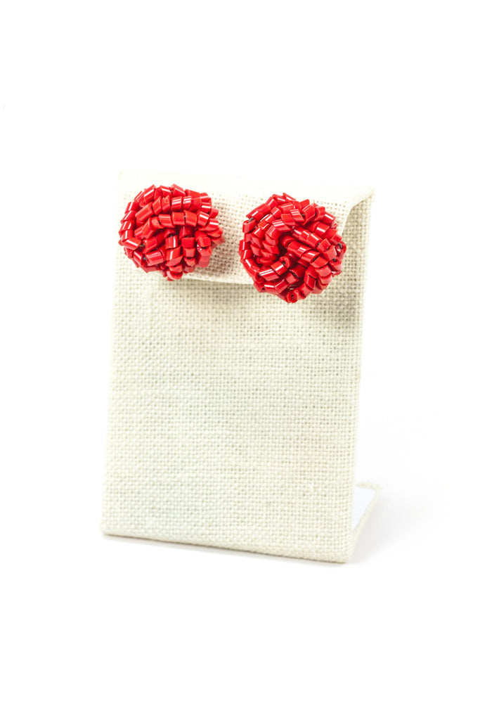 70's__Vintage__Red Statement Knot Earrings