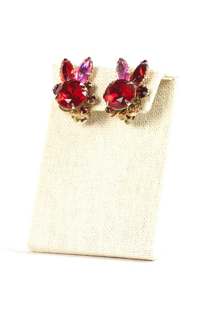60's__Vintage__Red and Pink Rhinestone Clips