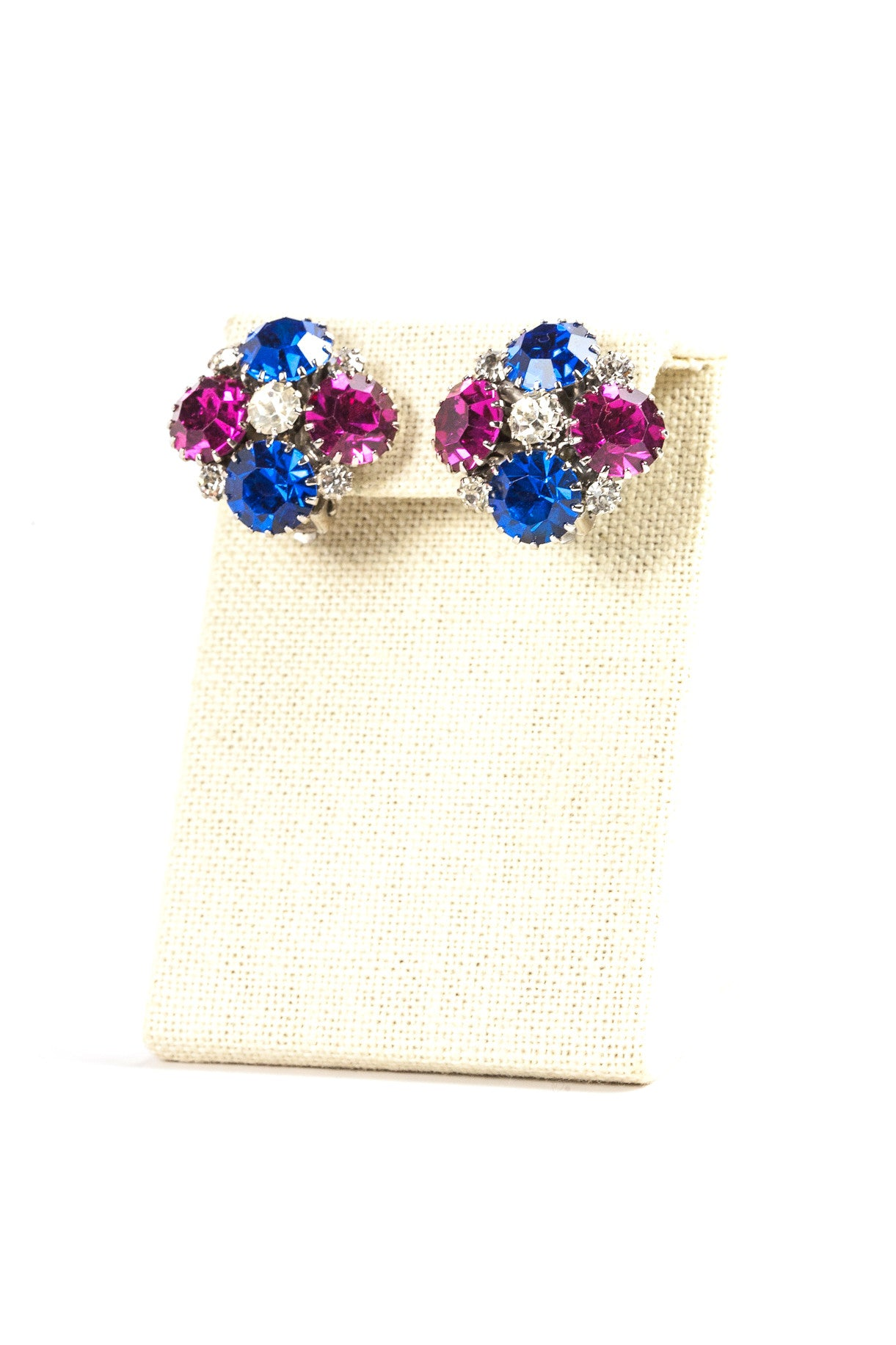 60's__Weiss__Blue and Pink Rhinestone Clips