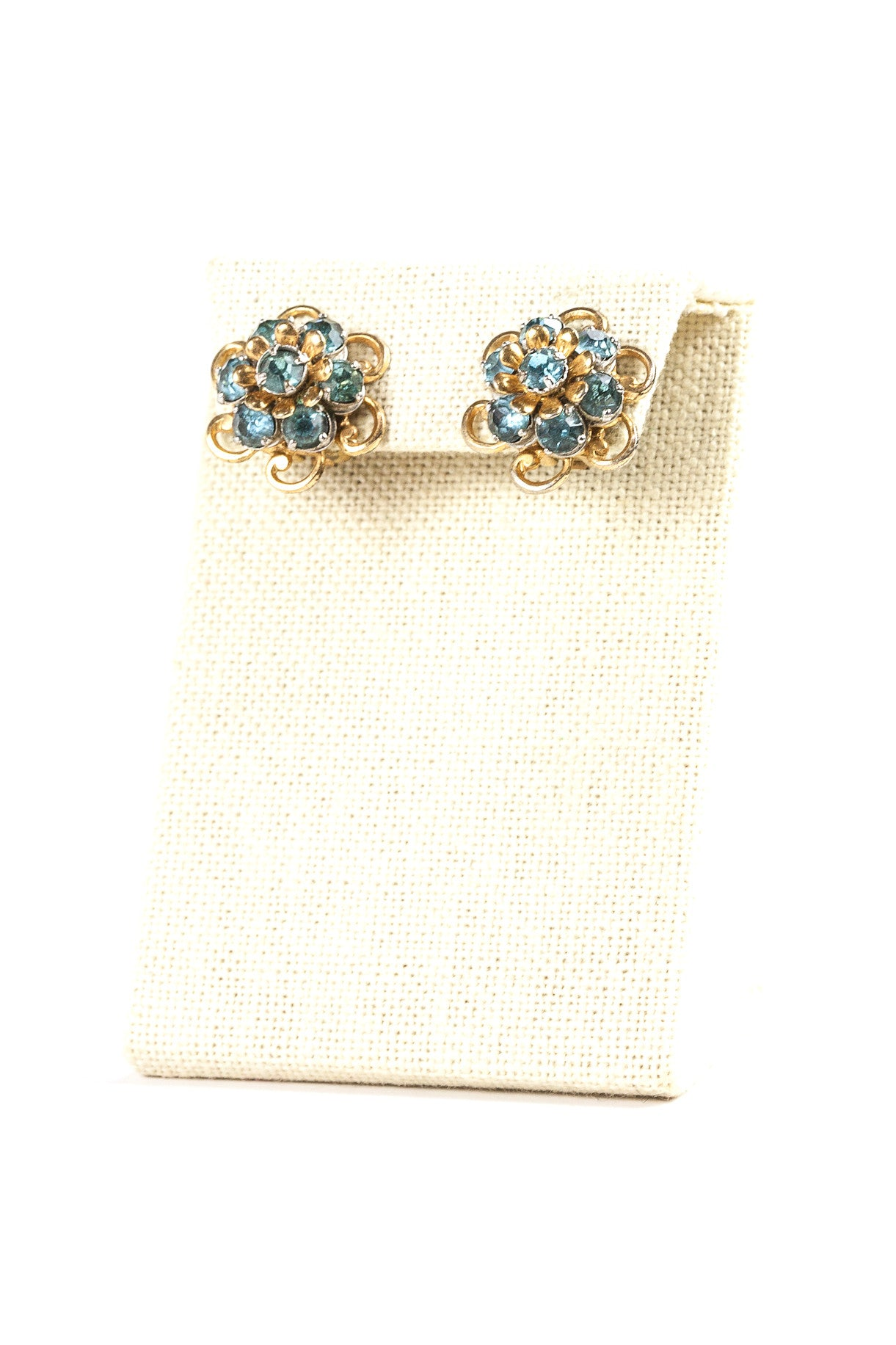 60's__Barclay__Blue Rhinestone Clips