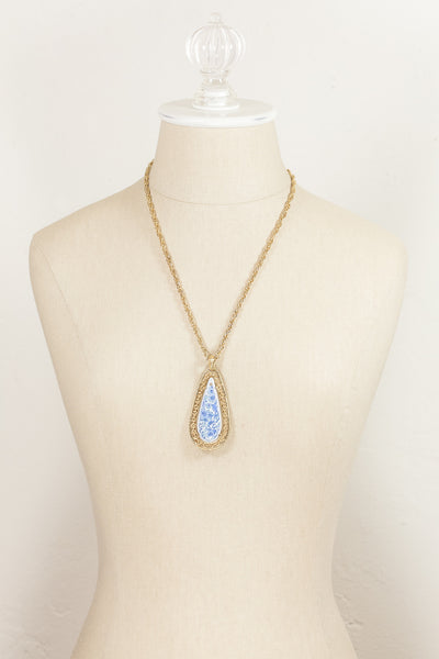 70's__Vintage__Blue Stone Pendant Necklace